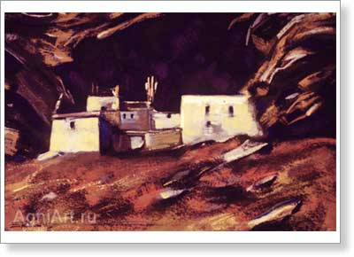 Roerich Svetoslav. Village House. Art print on canvas