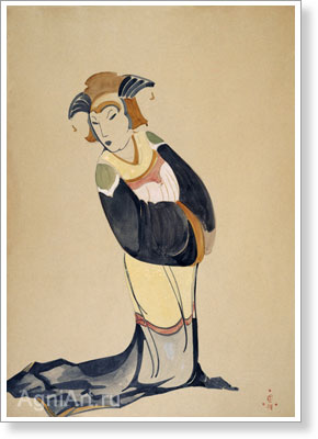 Roerich Svetoslav. Woman in a Kimono and a Headwear (Sketch of a costume). Art print on canvas