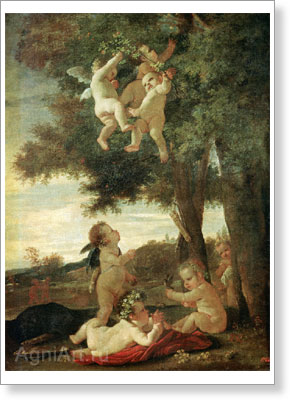 Poussin Nicolas. Cupids and Genii. Fine art postcard A6