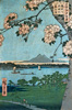 Utagawa Hiroshige . Suijin Shrine and Massaki on the Sumida River. Art print on canvas
