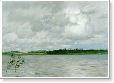 Levitan Isaac. Lake – Grey Day. Art print on canvas - paintings, sale