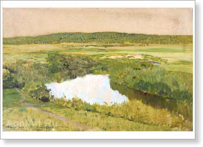Levitan Isaac. Toward Evening - The Istra River. Art print on canvas