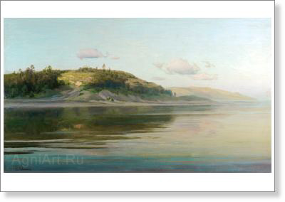 Levitan Isaac. Summer Evening: The River. Fine art postcard A6