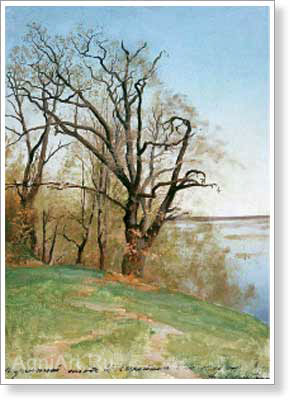 Levitan Isaac. Oak Tree on the Bank of the River. Study. Art print on canvas - paintings, sale