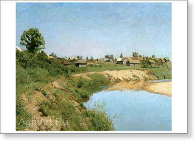 Levitan Isaac. Village on the River Bank. Art print on canvas