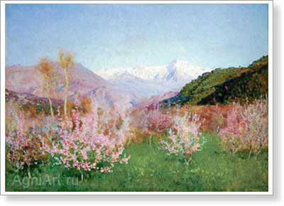 Levitan Isaac. Spring in Italy. Art print on canvas