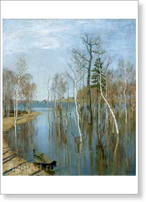 Levitan Isaac. Spring - High Water. Art print on canvas