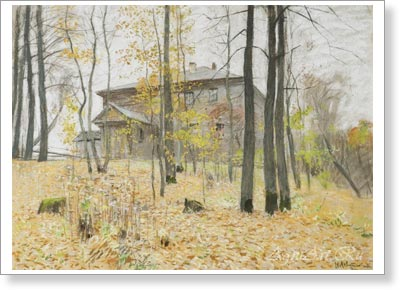 Levitan Isaac. Autumn. Manor. Fine art postcard A6