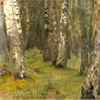 Levitan Isaac. Birches. A marge of a wood. Art print on canvas
