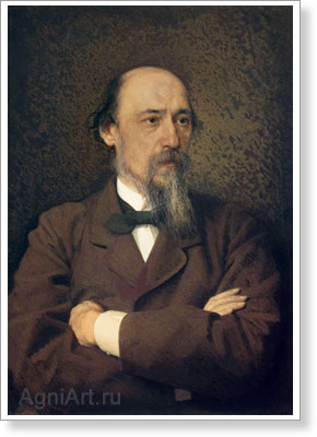 Portraits of Russian writers and poets. Portrait of Nikolay Nekrasov. Fine art print B3