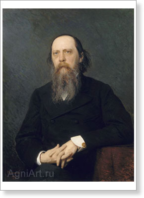 Portraits of Russian writers and poets. Portrait of Mikhail Saltykov-Shchedrin. Fine art print B3