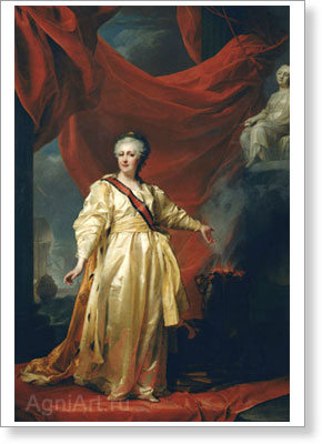 Levitsky Dmitry. Portrait of Catherine the Great as a Lawgiver in the Temple of the Goddess of Justice. Art print on canvas