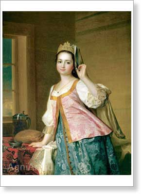 Levitsky Dmitry. Portrait of Agatha Dmitrievna (Agasha) Levitskaya. Art print on canvas