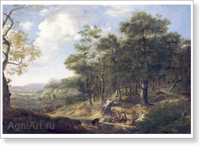 d'Artois Jacques. Landscape with Travellers. Art print on canvas