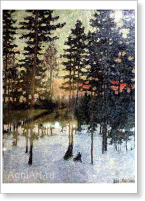 Petrovichev Pyotr. Spring Evening. Art print on canvas