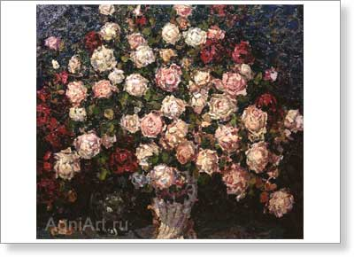 Petrovichev Pyotr. Bunch of Roses. Art print on canvas