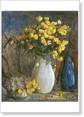 Petrovichev Pyotr. Flowers in a Jug -- Globeflowers. Art print on canvas
