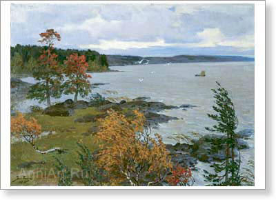 Popov Veniamin. Autumn in Karelia. Art print on canvas