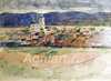 Surikov Vasily. View of the Krasnoyarsk area the Annunciation Church. Fine art postcard A6