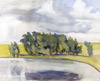 Landscape with a pond. Art print on canvas
