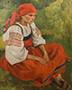 Peasant woman in a red sundress. Art print on canvas