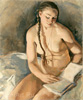 Nude with the book. Art print on canvas