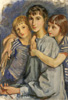 Self-portrait with daughters. Art print on canvas