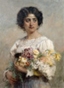 Makovsky Konstantin. Girl with a Bouquet. Art print on canvas