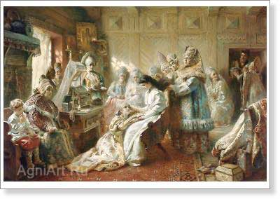 Makovsky Konstantin. Down the Aisle. Art print on canvas