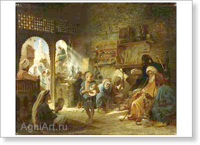 Makovsky Konstantin. In the Cairo Coffee House. Art print on canvas