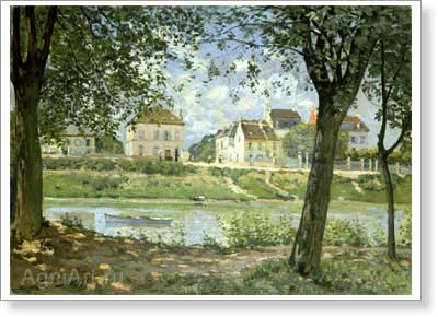 Sisley Alfred. Villeneuve-la-Garenne on the Seine. Art print on canvas
