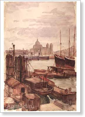 Benois Albert (Aleksandrovich). Marseilles. Art print on canvas