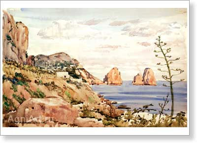 Benois Albert (Aleksandrovich). Capri. Art print on canvas