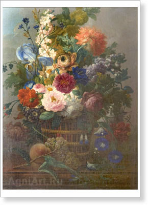 Drechsler Johann Baptiste . Still Life with Flowers. Art print on canvas - paintings, sale