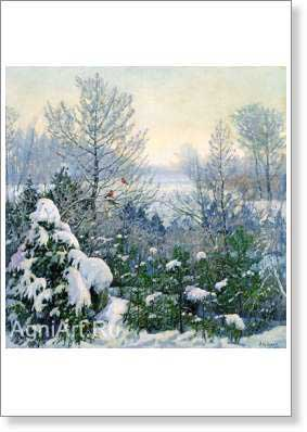 Brodskaya Lydia. Frosty Morning. Fine art postcard A6