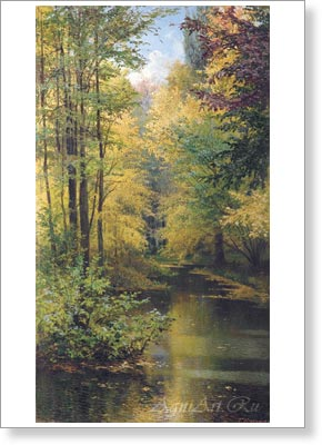Miasoyedov Grigory. Pond in a wood. Fine art postcard A6