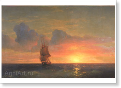 Aivazovsky Ivan. Sunset - Salitary Sailing Ship. Art print on canvas - paintings, sale