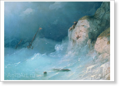 Aivazovsky Ivan. Shipwreck. Art print on canvas - paintings, sale