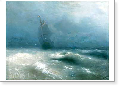 Aivazovsky Ivan. Storm on the Shore of Nice. Fine art postcard A6