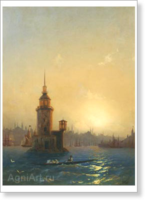 Aivazovsky Ivan. View of the Leander Tower in Constantinople. Fine art print B3
