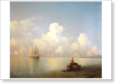Aivazovsky Ivan. Evening at Sea. Fine art postcard A6