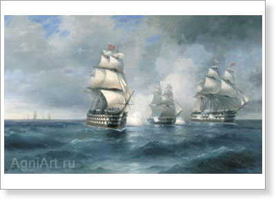 "Aivazovsky Ivan. Brig ""Mercury"" Attacked by Two Turkish Ships.   Art print on canvas - paintings, sale"
