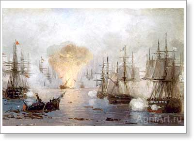 Aivazovsky Ivan. Battle of Navarino. Fine art postcard A6