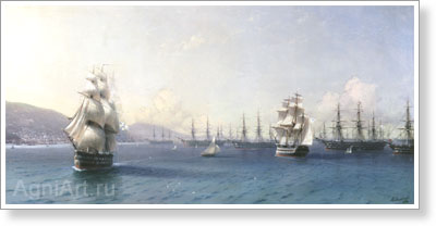 Aivazovsky Ivan. Black Sea Fleet before the Crimean War at the Feodosiya Roadstead. Art print on canvas