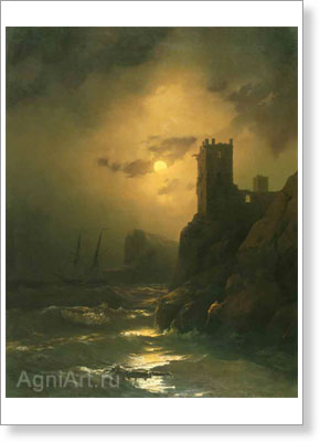 Aivazovsky Ivan. Tower — Shipwreck. Art print on canvas