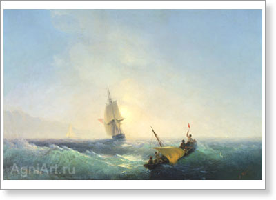 Aivazovsky Ivan. Rescuing from the Shipwreck. Art print on canvas - paintings, sale