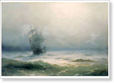 Aivazovsky Ivan. Storm 1899. Art print on canvas