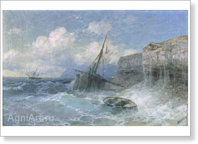 Aivazovsky Ivan. Storm on the Shore of Odessa. Art print on canvas