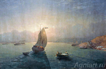 Aivazovsky Ivan. Volga. Art print on canvas - paintings, sale