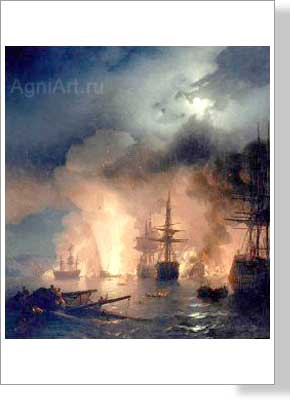 Aivazovsky Ivan. Battle of Cesme. Art print on canvas